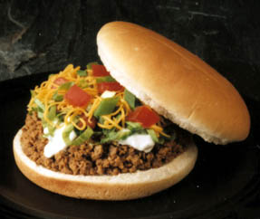 ... mine was the Taco Burger; all the fixings of a taco on a burger bun